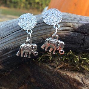 Elephant silver earrings stainless steel boho yoga